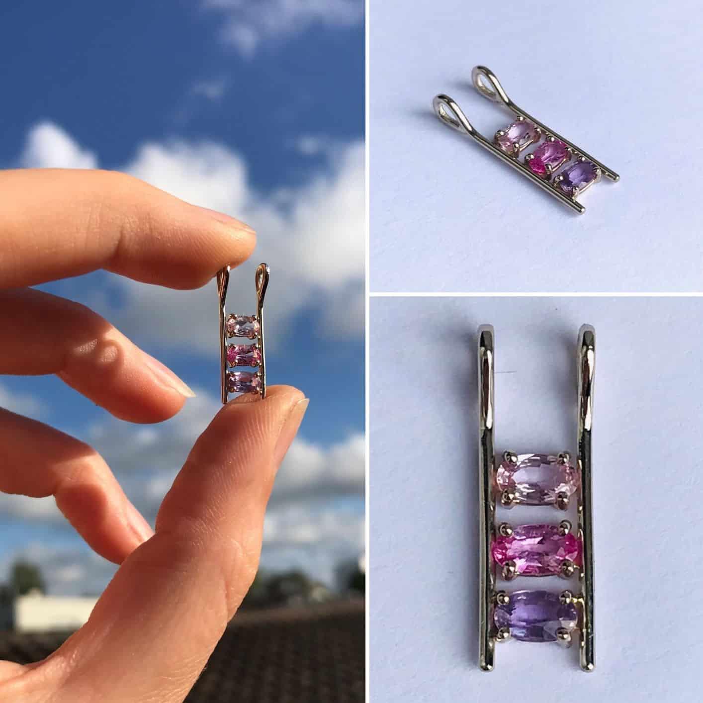 pendentif, bijoux piece unique, trio de couleur saphir